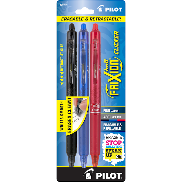 #1 Selling FriXion Erasable Pens by Pilot are Back-to-School must haves. Whether you are taking notes, writing a letter or just doodling, you deserve a pen that works when you need it. Erase, re-write & create with these colorful Gel Pens, Highlighters and Marker Pens.