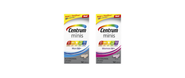 Introducing new Centrum Minis, a multivitamin that's ~50% smaller than regular Centrum tablets and easy to swallow.