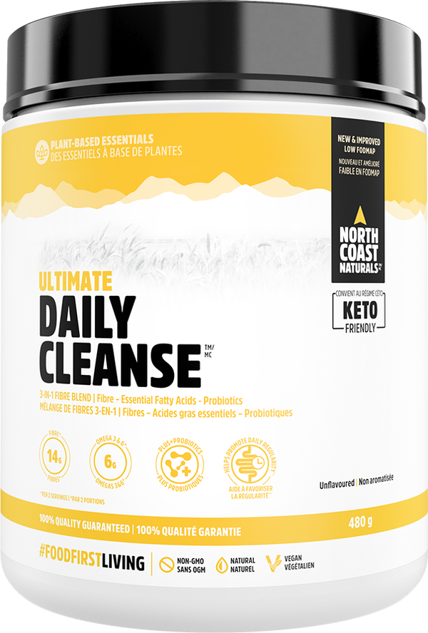 This premium 3-in-1 fibre formula provides 14 g of fibre (50% of your daily requirement), 6 g of essential fats, and probiotics, all from whole-food based sources for gentle daily fibre health & cleansing.