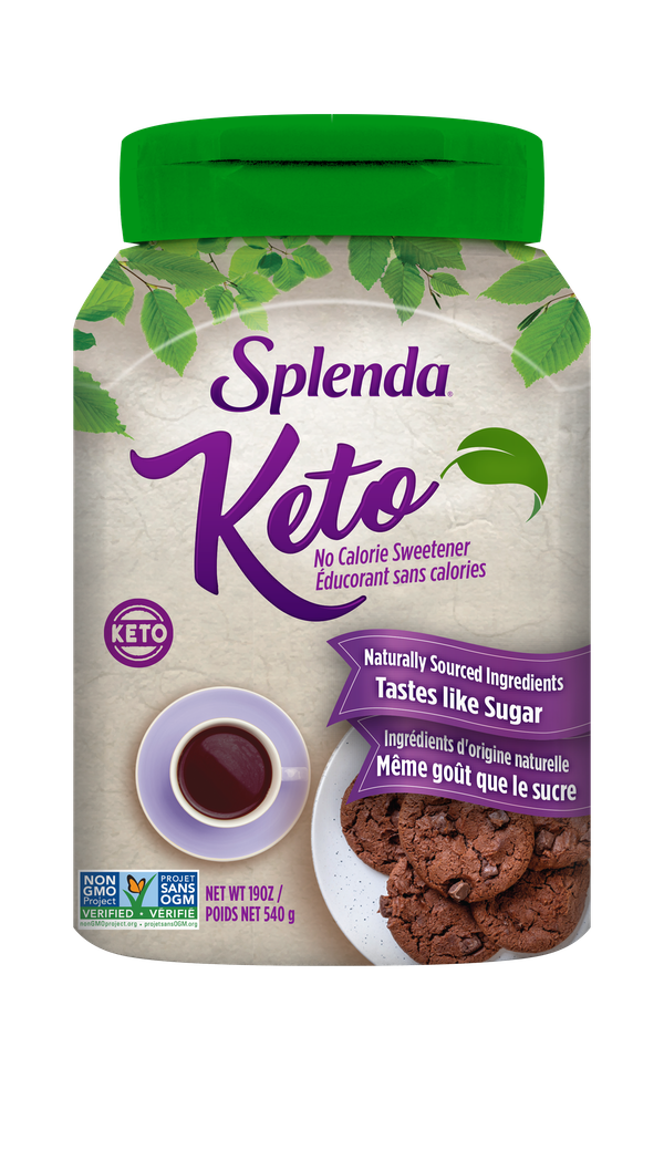 Naturally Sourced Ingredients Tastes like Sugar  Splenda® Keto is a delicious sweetener that tastes, bakes, and measures cup-for-cup like sugar.  It is made with non-GMO erythritol sweetener and natural flavors.  Erythritol is produced by a fermentation process.  It's the perfect sugar alternative for the keto lifestyle or anyone looking to reduce their carbs and calories. Please see our website for more information: www.splenda.ca