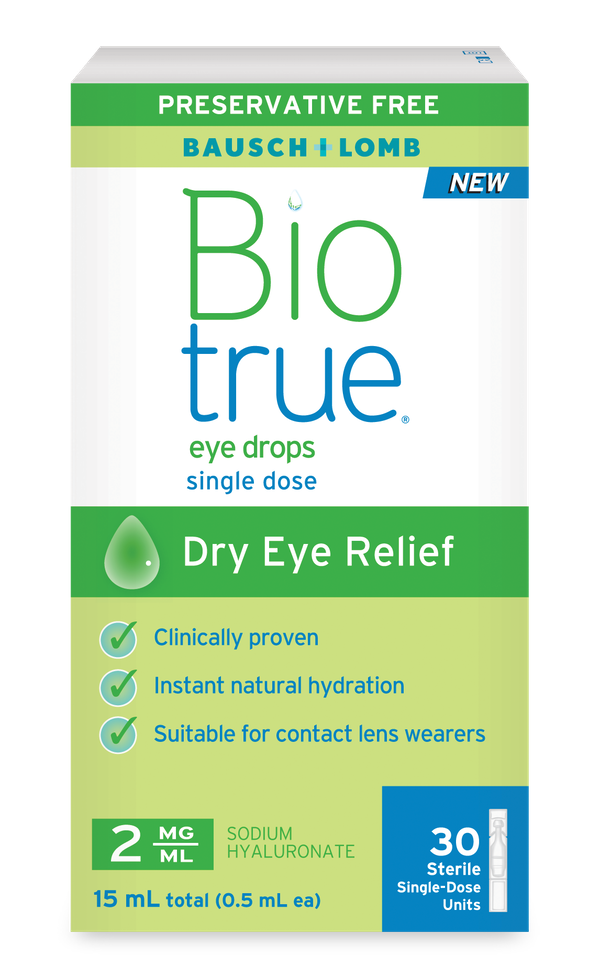 Biotrue Eye Drops deliver instant natural hydration and are clinically proven to provide long-lasting relief for dry eye symptoms.