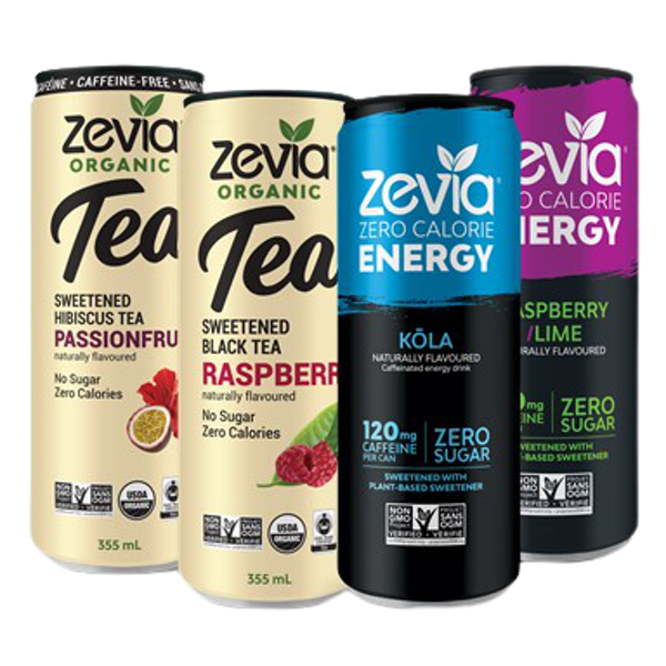 Zevia Energy is zero sugar, zero calories, with 120 mg of caffeine will provide you with the boost you need that you can feel good about. Zevia Organic tea is zero sugar and zero calorie. Freshly brewed refreshing tea with just the right amount of sweetness.
