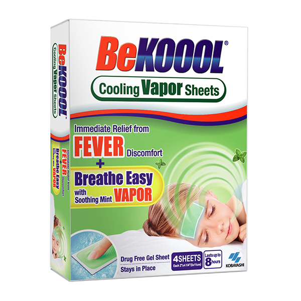 BeKoool Migraine single-use gel sheets that last up to 8 hours and provide immediate cooling relief from headaches, fever, muscle aches, over-exertion, or whenever you need cooling relief.